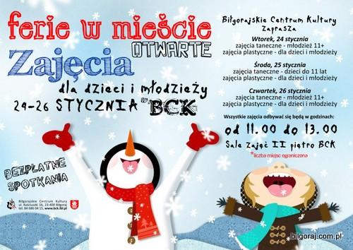 Ferie w Mie¶cie - otwarte zajêcia dla dzieci i m³odzie¿y w BCK.