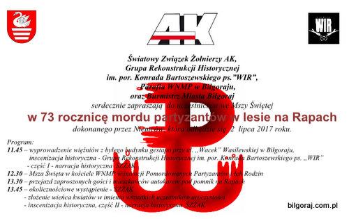 73. rocznicy mordu partyzantów w lesie na Rapach.