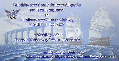 Koncert z okazji 25-lecia Zespo³u Tañca Wspó³czesnego ADA, pracuj±cego pod kierunkiem pani Edyty Buczek.