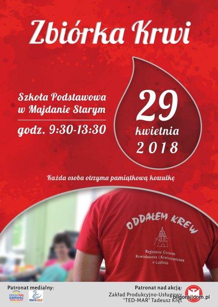Zbiórka krwi w Majdanie Starym.
