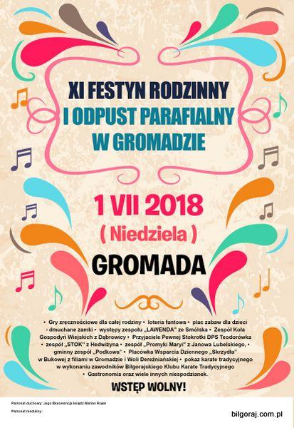 XI Festyn rodzinny i odpust parafialny w Gromadzie.