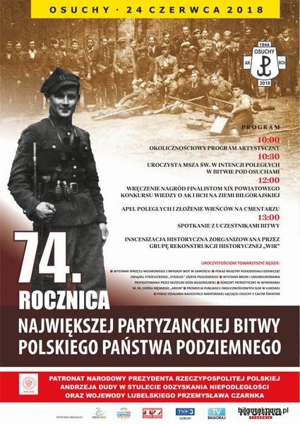 74. rocznica Bitwy Partyzanckiej pod Osuchami.