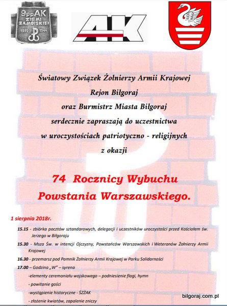 74. rocznica Powstania Warszawskiego.