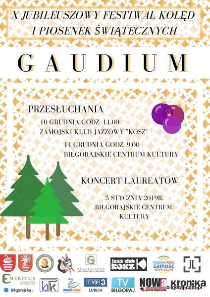 """Jubileuszowy Festiwal Kolêd i Piosenek ¦wi±tecznych """"Gaudium""""."""