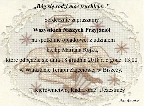 Spotkanie op³atkowe WTZ Biszcza.