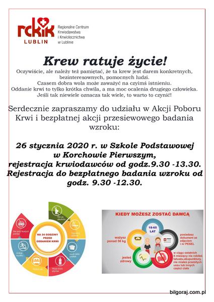 Akcja poboru krwi w Korchowie Pierwszym, 26 stycznia br. Podczas zbiórki organizowane bêdzie równie¿ bezp³atne przesiewowe badanie wzroku dla chêtnych.