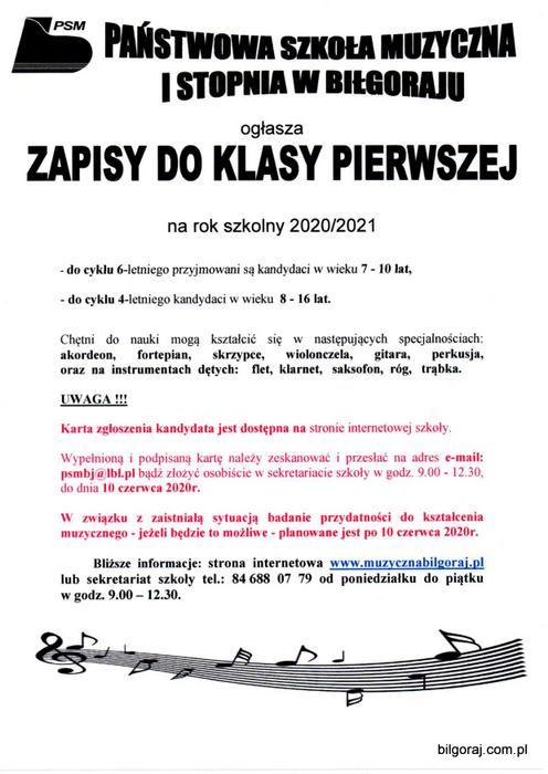 Pañstwowa Szko³a Muzyczna I stopnia w Bi³goraju og³asza zapisy na rok szkolny 2020/2021 dla kandydatów w wieku 7 - 16 lat.