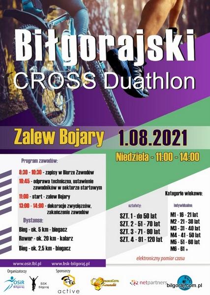 Zapraszamy na kolejn± edycjê Bi³gorajskiego Cross Duathlonu. Duathlon odbêdzie siê 1 sierpnia 2021 roku nad Zalewem Bojary.
