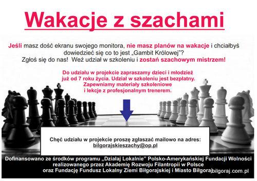 Bi³gorajscy pasjonaci szachów zapraszaj± do udzia³u w bezp³atnych zajêciach nauki gry w szachy. Szkolenie bêdzie odbywa³o siê w okresie wakacyjnym w nowej siedzibie Fundacji Fundusz Lokalny Ziemi Bi³gorajskiej.
